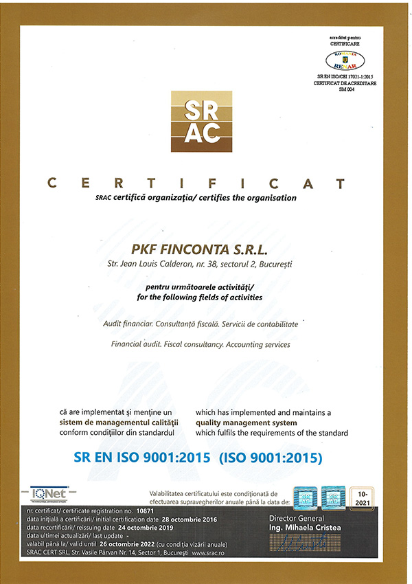 PKF Finconta Certificat ISO Mediu Old