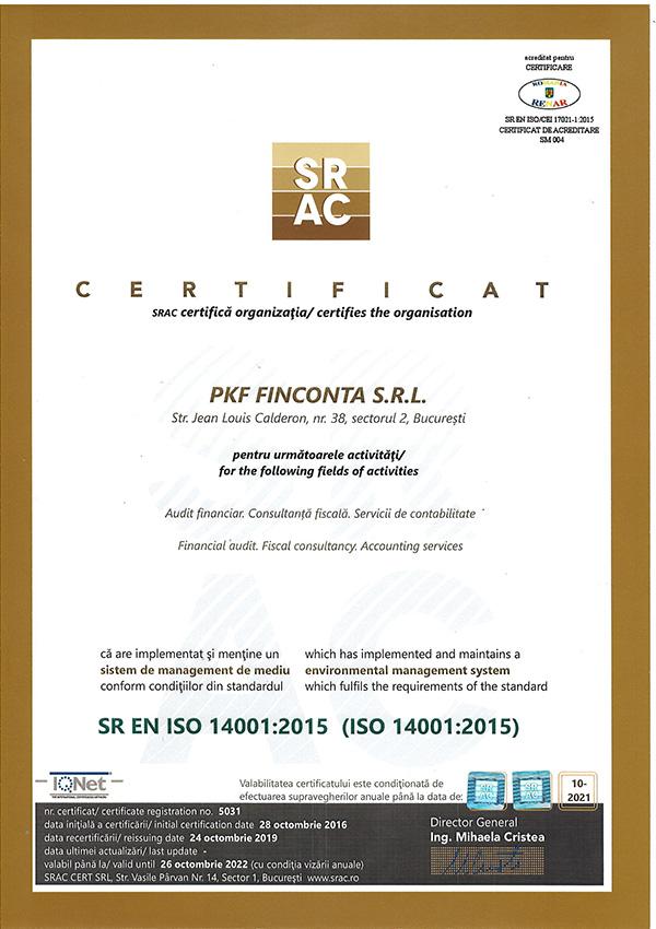 PKF Finconta Certificat ISO Mediu Nou